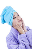 Young woman with towel Stock Photos
