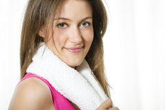 Young Woman With Towel Around Her Neck Stock Photos