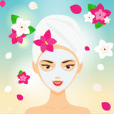 Young woman with towel and cosmetic facial mask among flowers. SPA, resort, beauty salon concept vector illustration Royalty Free Stock Photo