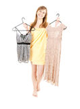 Young woman in towel try to choose how dress up Royalty Free Stock Photo