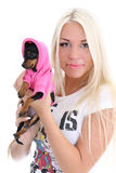 Young woman with toy-terrier over white Stock Photo