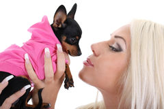 Young woman with toy-terrier over white Stock Images