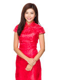 Young woman with traditional cheongsam Royalty Free Stock Images