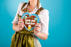 Young woman in traditional clothes  or dirndl Royalty Free Stock Image