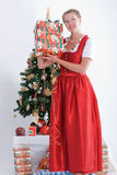 Young woman in traditional costume at christmas Royalty Free Stock Image