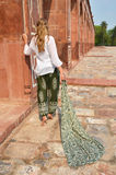 Young woman in the traditional Indian punjabi. Dress at Humayun's Tomb. Delhi, India Stock Image
