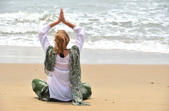 Young woman in the traditional punjabi dress. On Patnam beach. South Goa, India Stock Photography