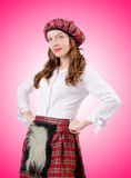 Young woman in traditional scottish clothing Royalty Free Stock Images