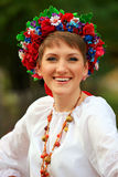 Young woman in traditional Ukrainian costume Stock Images