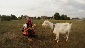 A young woman in a traditional Urainian folk costume eats an apple and a white goat stock video