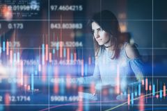 Young woman traider working at night modern office.Technical price graph and indicator, red and green candlestick chart stock image