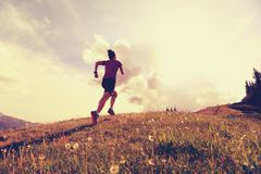 Young woman trail runner running on beautiful mountain peak Royalty Free Stock Photos