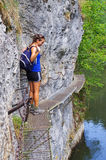 Young woman on the trail, Slovak Paradise Royalty Free Stock Photo