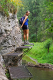Young woman on the trail, Slovak Paradise Royalty Free Stock Images