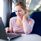 Young woman  on the train Royalty Free Stock Photo