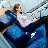 Young woman  on the train Stock Photos