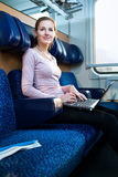 Young woman  on the train Royalty Free Stock Photography