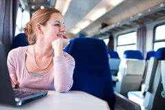 Young woman  on the train Stock Image