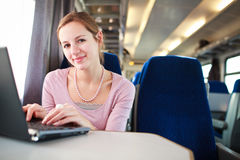 Young woman  on the train Royalty Free Stock Image