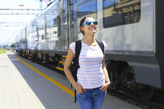 Young woman on train station. Stock Image