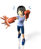 Young woman is in training for boxing. Stock Photo