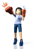 Young woman is in training for boxing. Royalty Free Stock Image