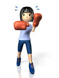 Young woman is in training for boxing. Royalty Free Stock Photography