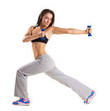 Young  woman  training with dumbbels Stock Images