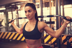 Young woman training in gym. Young woman training on lat machine in gym Royalty Free Stock Photos