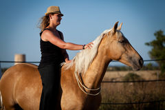 Young woman training horse outside in summer Royalty Free Stock Photography