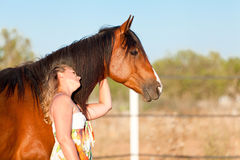 Young woman training horse outside in summer Stock Photography