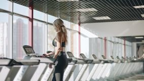 Young woman training on treadmill in fitness club. Pretty woman training cardio stock video