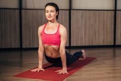 young woman training yoga  upward facing dog stock photo