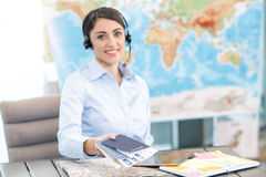 Young Woman Travel Agent Concept Stock Photography