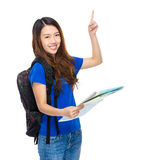 Young woman travel with backpack and map. Isolated on white Stock Photos