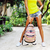 Young woman with travel bag Stock Photography