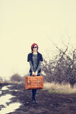 Young woman with travel bag. At outdoor Stock Photography