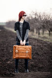 Young woman with travel bag. At outdoor Royalty Free Stock Photos
