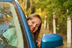 Young woman travel by car Royalty Free Stock Photography