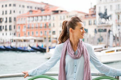 Young woman travel by venice water bus Royalty Free Stock Image