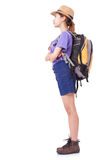 Young woman traveler with backpack. On white background Stock Images