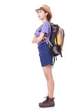 Young woman traveler with backpack. On white background Royalty Free Stock Photography