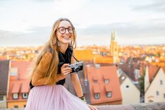 Woman traveling in Nurnberg city, Germany Royalty Free Stock Images
