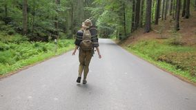 Female traveler on the road. Young woman traveler hitch-hiker alone in the forest road with backpack stock footage