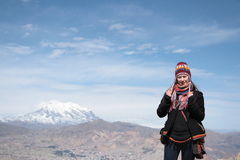 Young woman traveler with panorama of La Paz  Royalty Free Stock Photography