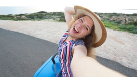 Young woman traveler taking selfie. Young woman taking selfie. Travel concept stock footage