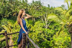 Young woman traveler on view point in the background of a jungle, Bali, Indonesia.  royalty free stock image
