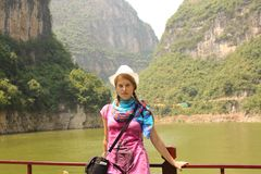 Young woman traveler on Yangtze river, China Stock Image