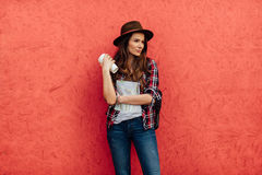 Young woman traveling alone Stock Images