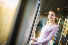 Young woman traveling by train Stock Photography